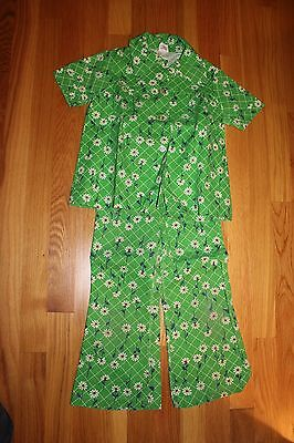 NOS 1970s Girls' Green White Daisy Flower Floral Button-down Blouse Pants Sears