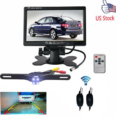"""Wired Night Vision Rear View Camera System +7"""" HD Monitor DIY KITS For BUS TRUCK"""