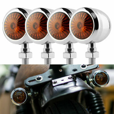 4pcs Motorcycle Amber Indicator Turn Signal Blinker Light Universal Fit Harley