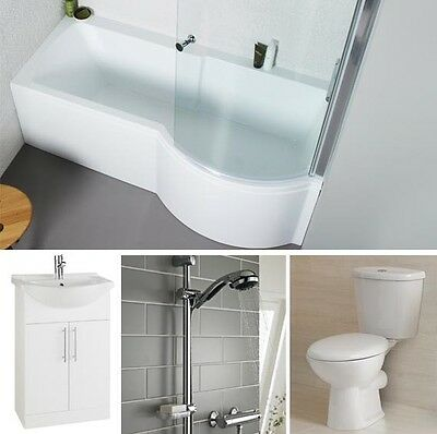 Complete P Shower Bath Suite 1700mm x 850mm Toilet Vanity Unit & Basin Taps