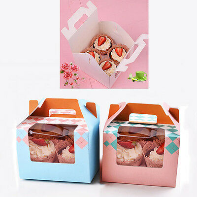 """New 2 PACK 6"""" Handle Moon Cake Muffin Cup Cupcake Paper Boxes Cake Decor Boxes"""