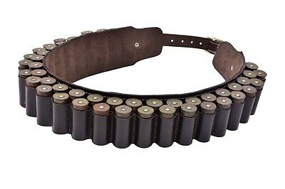 New Leather Double Cartridge Belt 12G OR 12 Bore with Brass Buckles. Double B