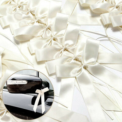 50PCS Pure White Ribbon Bows best for Gift/Car Decorations Wedding Party