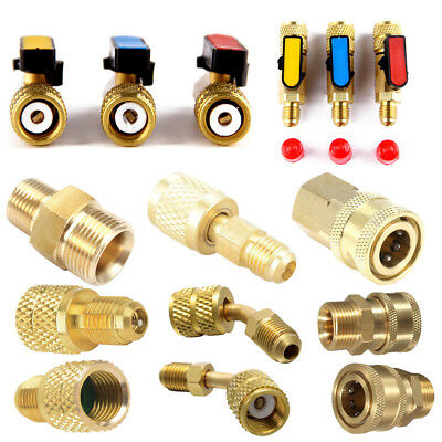 Car Air Condition R410A Brass Refrigerant Adapter Male Female Charge Hose Pump