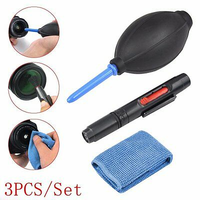 3 in 1 Lens Cleaning Cleaner Dust Pen Blower Cloth Kit Set For DSLR VCR Camera
