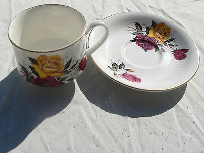 Collectable China Cup & Saucer, Red & Yellow Rose Design