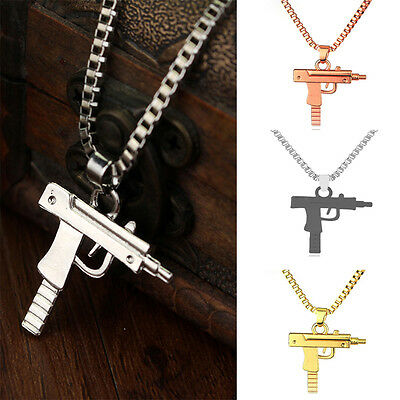 Uzi Gun Pendants Necklaces Chain Charm Metal Punk Jewelry For Women Men Gifts