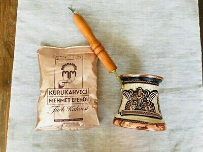 Turkish Hand Made Engraved Copper Coffee Pot Cezve Wooden Handle & Coffee Gift