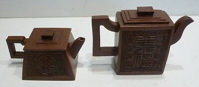 Lot of 2 Small TEAPOTS Chinese terracotta Carafes