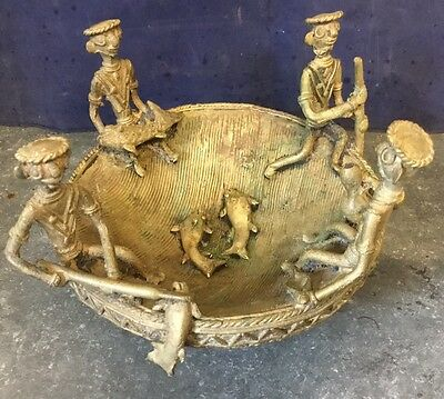 Unusual Antique Vintage African Brass Bowl Depicting Fishing Scene Design 2.5kg