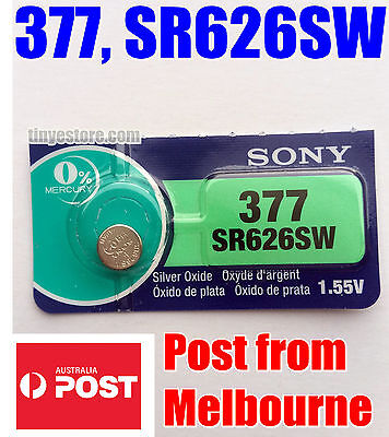 1x SONY 377, SR626SW 1.55V Silver Oxide EXP 01/2021 - JAPAN MADE - Post from MEL