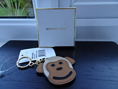 Gorgeous 100% Authentic Michael Kors Monkey Leather Bag Charm, Keyring Gold