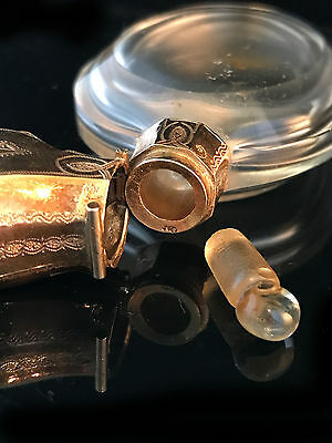 Victorian 14ct, 14k, 585 Gold mounted glass scent bottle, original Antique case