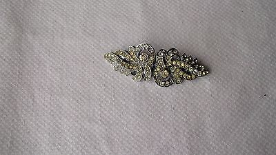 Vintage Art Deco  White Silver Tone Duette Dress Clips Brooch/pin