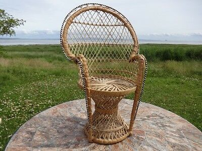 Vintage Peacock Wicker Chair for a Doll or Teddy