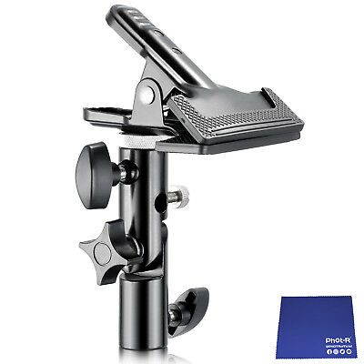 Phot-R Heavy Duty Metal Clamp Clip Holder Reflector Light Stand Chamois Cloth