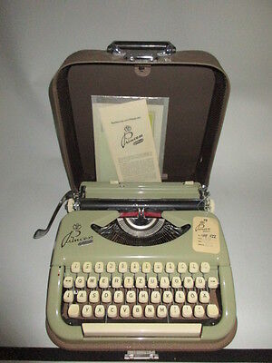 german Typewriter Keller & Knappich Princess Gotthardt in olive green very rare