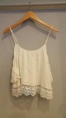 2 Cold Shoulder Tops H&M White Black Lace Summer UK 10 M Ladies