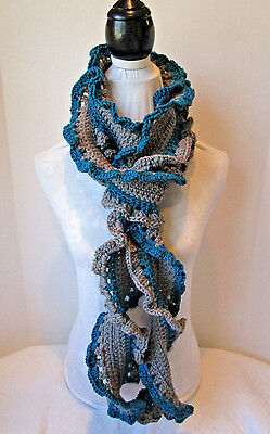 Hand Crochet Wavy Scarf ~ Teal and Grey