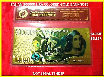 NEW RARE BANKNOTE ITALIAN 500000 LIRA COLOR GOLD COLOURED BANK NOTE 3D free COA