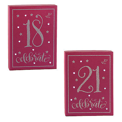 """Girl Talk """"Light Up"""" Pink & Silver Glitter Birthday Plaque - 18th or 21st"""
