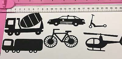 18 Pc (3 Sets of 6) x 'Transport' Die Cuts Helicopter Truck Bike Police Scooter