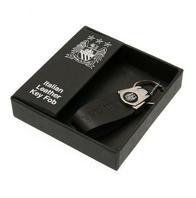 Man City Leather Keyring - Italian Leather Key Fob - In Gift Box - Ideal Gift