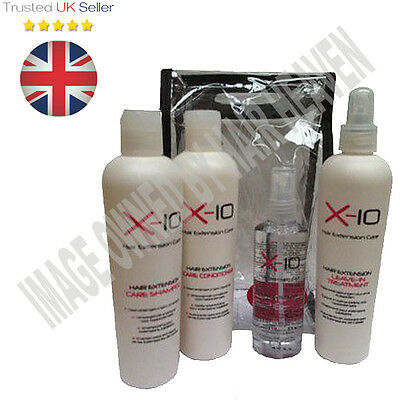 X-10 Hair Extension After Care Range Shampoo,Condiotioner,Shine Spray or Kit