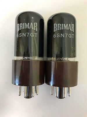 6Sn7Gt Brimar Matched Pair Nos Black Glass Brown Base Valve/tube (Lc19)