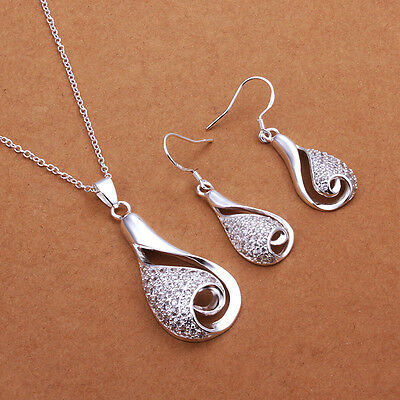 925 Sterling Silver Swirl Necklace and Earring Set ~UK SELLER~