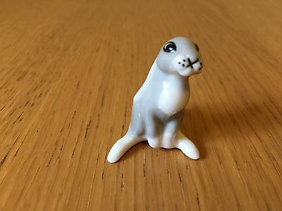 porcelain lomonosov ussr animals Small Grey Hare Rabbit Bunny  Stamped Vintage