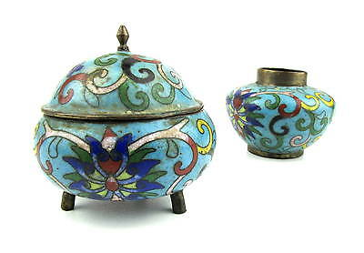 Antique Cloisonne inkwell set