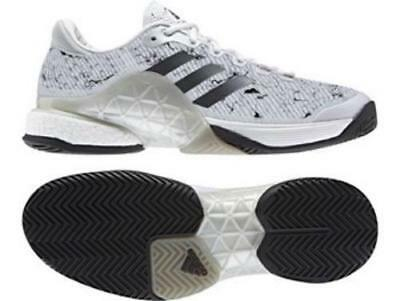 Adidas Tennis Barricade 2017 Boost White Silver Trainers Shoes - CG3089