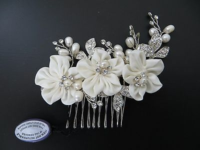 Alan Hannah Devoted Silk Flower And Freshwater Pearl Comb Bnwt Rrp £40.00