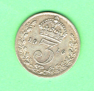 Great Britain (V1) Good Fine (NVF) 1916 Silver Three Pence George  V 3d