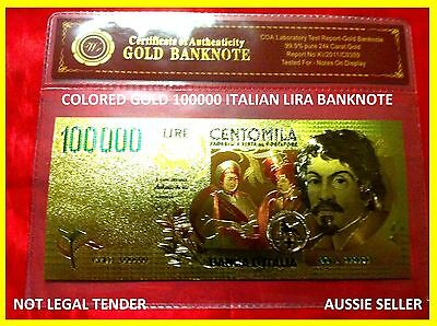 NEW RARE BANKNOTE ITALIAN 100000 LIRA COLOR GOLD COLOURED BANK NOTE 3D free COA