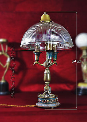 Victorian hammered bronze table desk lamp reclaimed 1890 antique holophane shade
