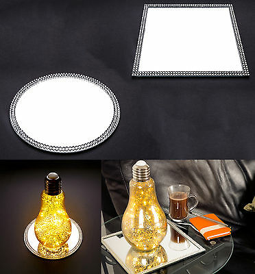 Art Deco Glass Mirror Plate Tray, Round or Square Shape, Home Décor, 20x20x0.5cm
