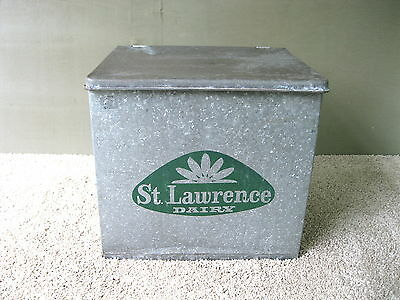 Antique Milk Porch Box ST LAWRENCE DAIRY Vintage Tin Advertising, Clean, PA