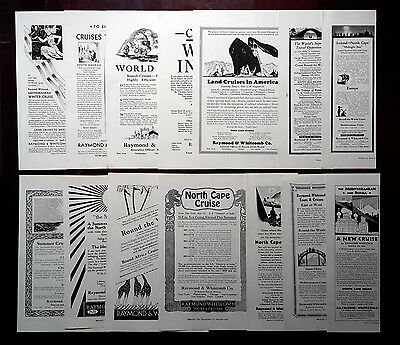1921-1931 RAYMOND & WHITCOMD Co - Lot of 14 vintage AD Tours and cruises Travel