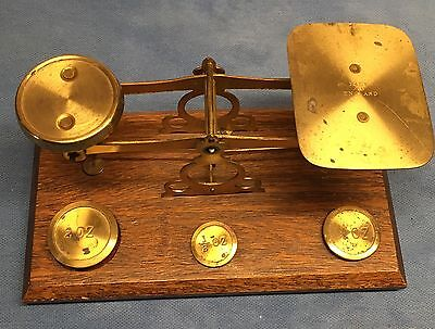 Antique Made in Engand Brass Postal Scale with 4 brass nesting weights - Nice