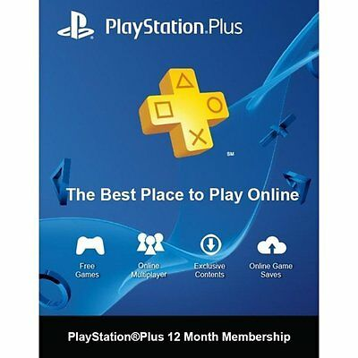 PS Playstation Plus 12 Month, 1 Year Subscription, NA Only (Canada) Vita PS3 PS4
