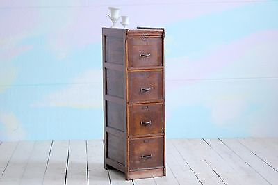 Antique Vintage Victorian Solid Oak Filing Cabinet Chest of Drawers Tallboy