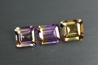 3.680 Cts Amazing Finest Unbelievable Quality Hi-End Natural Ametrine Aaa 3-Pcs!
