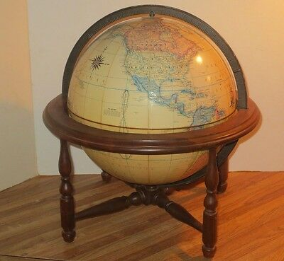 Vintage Rand McNally Terrestrial 12 Inch World Globe With Wooden Desk Stand