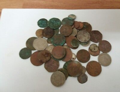 metal detecting finds joblot old English, Manx an Irish coins