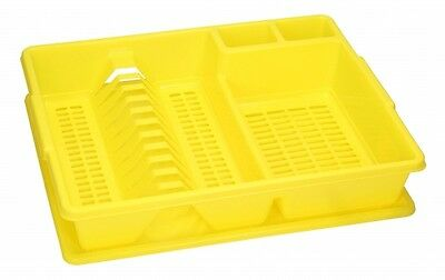 YELLOW Dish Rack Drainer Plate Cutlery Utensil Holder with Dripping Tray