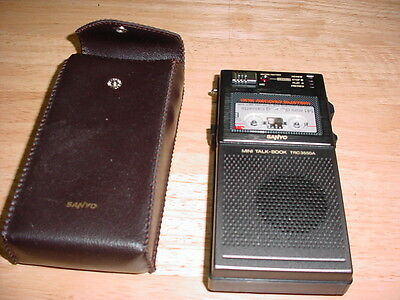 """A SANYO MINI TAPE RECORDER..TRC3550A..with Case """"as is"""" tape drive slips Vintage"""