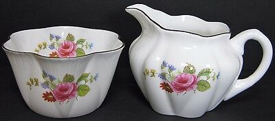 "1 7/8"" Shelley China Dainty Rose & Red Daisy Mini Open Sugar Bowl & Creamer Gold"