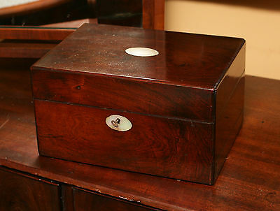 19th Century Mahogany Travelling Case, Bottles, Sprung Draw, Inlaid, Key, TLC